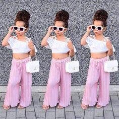 Toddler Kids Girls Lace Stripe Off Shoulder Crop Top Pants Set Clothes Summer US – Diva Wear Cute Little Girls Outfits, Girls Summer Outfits, Toddler Girl Outfits, Baby Girl Dresses, Baby Girls, Clothes For Kids Girls, Kids Clothing, Cute Kids Fashion, Little Girl Fashion