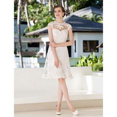 A-line Princess Jewel Knee-length Lace Wedding