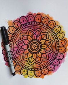 Mandala Art Lesson, Mandala Doodle, Mandala Artwork, Doodle Art Drawing, Mandala Drawing, Pencil Art Drawings, Dibujos Zentangle Art, Unique Drawings, Z Arts