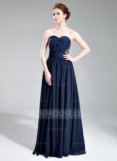 A-Line/Princess Sweetheart Floor-Length Chiffon Evening Dress With Ruffle Beading (017019741)