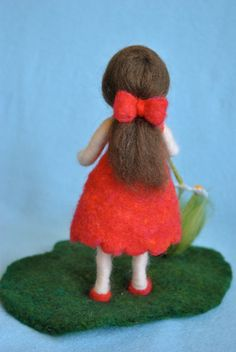 Waldorf inspired needle felted doll The girl in red by MagicWool. Yarn Dolls, Felt Dolls, Cute Crafts, Felt Crafts, Felt Angel, Toddler Flower Girl Dresses, Animal Sewing Patterns, Felted Wool Crafts, Felt Fairy