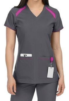 Med Couture Activate Color Block V-neck Scrub Tops Cute Scrubs Uniform, Scrubs Outfit, Med Couture Scrubs, Stylish Scrubs, Medical Scrubs, Workwear Fashion, Nursing Clothes, Scrub Tops, Costume