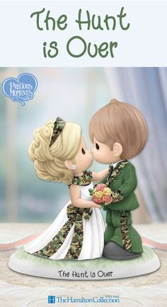 """A love like yours can't be camouflaged because it always shines bright! Celebrate the most rewarding prize of your life with this Precious Moments figurine. Featuring a loving Precious Moments bride and her favorite hunter, each decked out in camouflage, commemorate the happily-ever-ending of """"hunting"""" season:"""