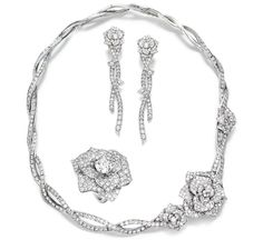Piaget Rose Passion necklace, ring and earrings in white gold set with diamonds