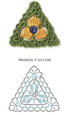 مجموعة من وحدات الكروشية المثلثة مع البترونات باستخدام خيوط ملونة لاظهار السطور المنوعة والنقشة النهائية لهذه الوحدات الجميلة ...رائعة هذ...