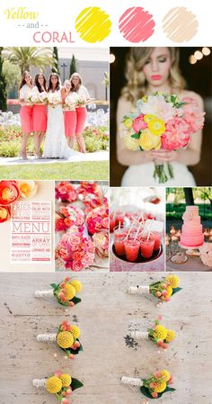 coral and yellow summer wedding color ideas