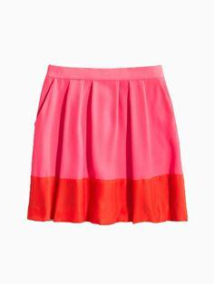 Pink Contrast Pleated Skirt - Choies.com