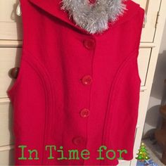 🎄Boiled Wool Hooded Vest NWOT - Boiled wool hooded vest from Coldwater Creek. Purchased & tried on several times & never worn! I'm just too cold all the time!❄️☃ Coldwater Creek Sweaters