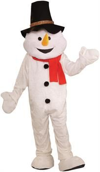 Men's Snowman Plush Economical Mascot Adult Costume - White