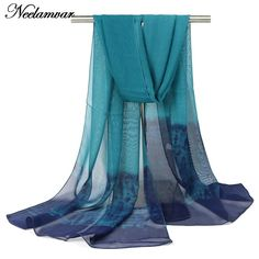 new 2016 fashion gradient colors long scarf women silk chiffon shawl thin long soft shawls and printing scarves Winter wholesale