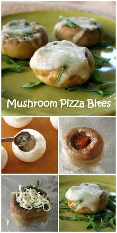 Pizza Stuffed Mushrooms Spinach Mushroom Pizza Bites – Just 5 ingredients in this low-carb, gluten free recipe! Carb Free Diet, Carb Free Recipes, Vegetarian Recipes, Healthy Recipes, Carb Free Dinners, Yummy Recipes, Carb Free Snacks, Appetizer Recipes, Snack Recipes