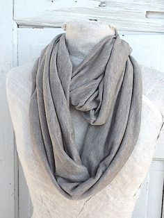 Taupe Infinity Scarf Summer Scarf Elegant Natural by CamillaCotton,