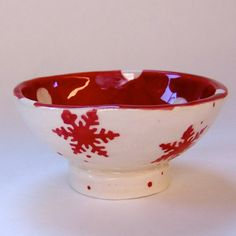 Scandinavian Red & White snowflake pottery w/ polka-dots :) Holiday Decor, hostess gift, soap dish, candleholder