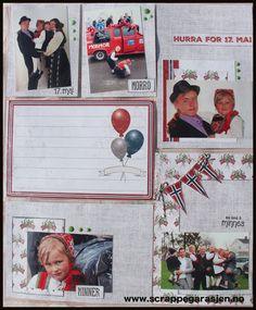 June hos Scrappegarasjen har laget denne flotte PL-siden med ark fra Papirdesign. Families, Scrapbooking, Layout, Baseball Cards, Page Layout, My Family, Scrapbooks, Households, Memory Books