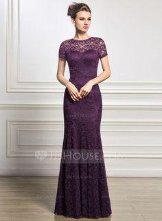 Trompete/Sereia Decote redondo Longos Renda Vestido para a mãe da noiva (008056831)