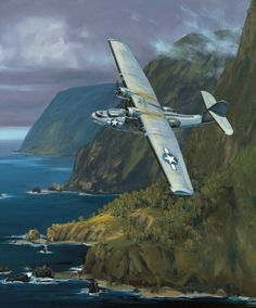 """Dumbo Like a hawk catching the lift of the ridge, the """"Cat"""" banks along the Na Pali coast of the island of Kauai, Hawaiian Territory, in December 1943. Brave crew members who flew the United States Navy patrol bomber, the Consolidated PBY Catalina, often performed heroically in extremely hazardous combat and weather conditions.They gave rise to many stories of bravery, sacrifice, and inventiveness, and their actions in World War II provided a basis for the modern navy's antisub warfare…"""