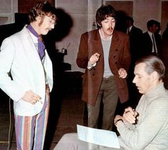 """John Lennon, Paul McCartney and George Martin during """"Lucy In the Sky With Diamonds"""" sessions, March 3rd, 1967."""