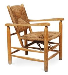 Charlotte Perriand: #21 oak & rush armchair, ca. 1960.
