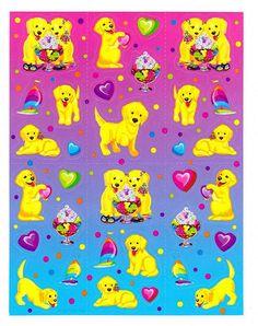 Lisa Frank Casey and Candy Golden Retriever Puppies Sticker Sheet