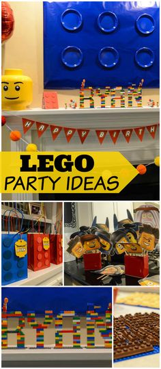 This Lego race car party has fun favor bags and photo props! See more party planning ideas at CatchMyParty.com!
