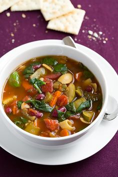 Just minus the cheese Olive Garden Minestrone Soup Copycat {Slow Cooker} - Cooking Classy Minestrone Soup Slow Cooker, Slow Cooker Soup, Slow Cooker Recipes, Soup Recipes, Vegetarian Recipes, Cooking Recipes, Healthy Recipes, Copycat Recipes, Dinner Recipes