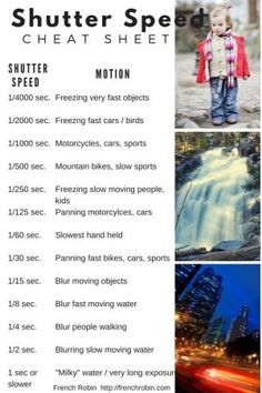Photography Tips   Shutter Speed Cheat Sheet   A handy guide for helping you determine how to set your shutter speed. by iva