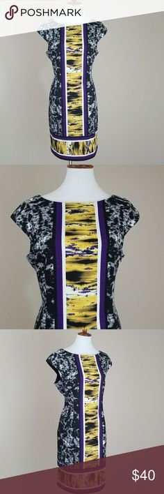 Maggy London Purple, Yellow&Black Shift Dress Purple, Yellow, & black abstract print dress from Maggy London. Scoopneck. Cap sleeves. Zips up the side. Laying flat chest measures  20'. Waist 18'. Total length of dress is 37.5'. 95% Polyester 5% Spandex. Lining 100% Polyester. Super cute, great colors!! Maggy London Dresses