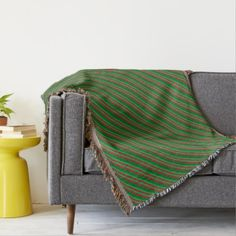 Red and Shades of Green Stripes Throw Blanket - pattern sample design template diy cyo customize