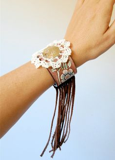Tooled leather floral cuff crochet upcycled cowboy belt western concho leather fringe.