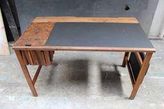 AM05 Desk - Walnut, Burr Walnut, Leather, Desktop Lino & Copper by Mark Lane.