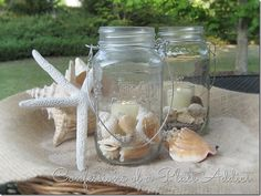 #DIY #beach Summer Mason Jar Candles