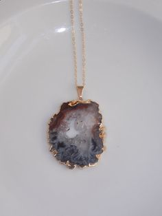 Geode Slice Necklace on a 24 inch Gold Fill by MalieCreations, $45.00