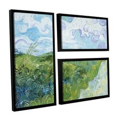Field with Green Wheat by Vincent Van Gogh 3 Piece Floater Framed Painting Print on Canvas Set