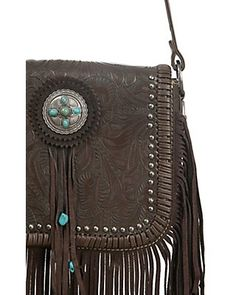 Trinity Ranch Coffee Brown Tooled Floral Design with Turquoise Conchos and Fringe Messenger Bag