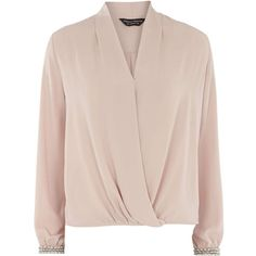 Dorothy Perkins Pink Embellished Cuff Blouse ($41) ❤ liked on Polyvore featuring tops, blouses, pink, light pink top, wrap top, wrap blouse, pink top and light pink blouse