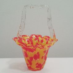 Vintage Czechoslovakian Glass Basket clear Thorn Handle orange yellow spatter, collectible decorative depression glass.  https://www.etsy.com/listing/214693913/vintage-czechoslovakian-glass-basket