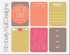 Freebie | March Journaling Cards for Project Life from This Kalil Life
