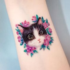 Cat tattoo African Violet Flower tattoo Couple tattoos | Etsy
