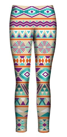 Blue Orange Purple Aztec Leggings