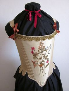 18th Century Stays Silk Corset with embroidery, romantic Marie Antoinette era size Large