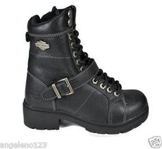 Harley Davidson Boots Teri Black Leather Tall Lace Up  - <3