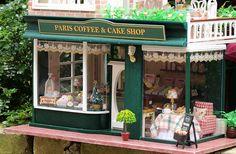 DIY Wooden Dolls House Handcraft Miniature Kit-Paris Coffee & Cake Shop Model with furniture, Dollhouses - Dollhouse Kits, Wooden Dollhouse, Wooden Dolls, Dollhouse Miniatures, Miniture Dollhouse, Wooden Diy, Handmade Wooden, Museum Hotel, Graduation Party Supplies
