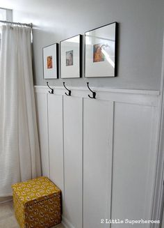 Bathroom wall pictures ideas bathroom wainscoting ideas a great builder grade bathroom makeover she did this Wainscoting Bathroom, Hall Bathroom, Upstairs Bathrooms, Bathroom Kids, Wainscoting Ideas, Brown Bathroom, Bead Board Bathroom, Wainscoting Panels, Black Wainscoting