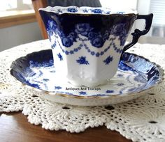Tuesday Cuppa Tea, Flow Blue Teacup Trio and Royal Christening Blue And White China, Blue China, Vintage China, Vintage Tea, Tea Cup Saucer, Tea Cups, Blue Dishes, White Dishes, Cuppa Tea