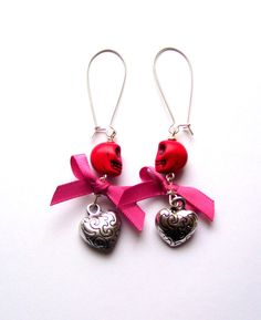 Silver colour earrings with red skull beads pink by shamankailona