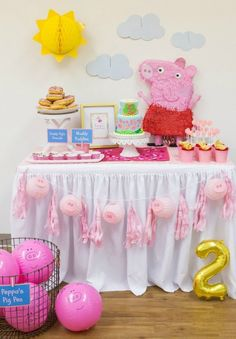 The Best Ideas for Peppa Pig Birthday Party Supplies Throw some sort 3rd Birthday Parties, Birthday Party Decorations, 2nd Birthday, Toy Story Birthday, Toy Story Party, Birthday Ideas, Cumple Peppa Pig, Peppa Pig Birthday Cake, Bridal Party Games