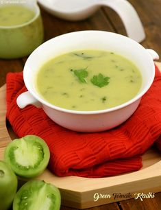 Green tomato kadhi is tangy and spicy kadhi with combination of green tomatoes and green chillies. It is thickened with coconut. Serve hot with roti or rice. Veg Recipes, Indian Food Recipes, Vegetarian Recipes, Cooking Recipes, Healthy Recipes, Ethnic Recipes, Recipies, Dinner Recipes, Gujarati Cuisine