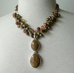 One of a Kind Brown Green Pearl Pendant Necklace by NucciDesign