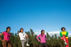 From left: Sisters Ejegayehu, Genzebe, and Tirunesh Dibaba, all wearing Nike, and their cousin Derartu Tulu, in Adidas. Genzebe is expected to win gold in Rio, while the other three are already Olympic medalists.