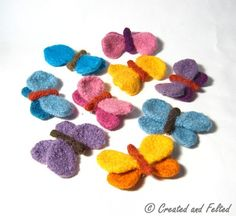 With a brooch clasp sewn into place these felt butterflys can adorn hats, bags and clothes! You can sew them onto your craft project in groups for an eye catching display. These unusual butterfly brooches are knitted simply from just 3 sections then sewn together before hand felting. My pattern gives line by line instructions to knit each pair of wings and butterfly body. Then continues to clearly and simply explain how to make up, hand felt and finish each butterfly brooch My 3 page pat...